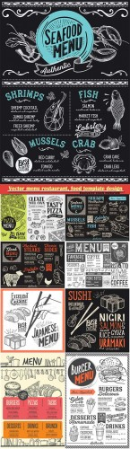 Vector menu restaurant, food template design