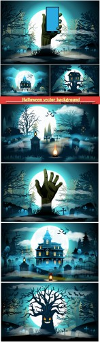 Halloween vector background, old scary house, castle and cemetery on blue moon background