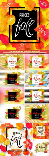 Autumn vector sale background with colorful autumn leaves and a rowan on marble backdrop