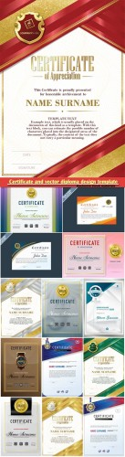 Certificate and vector diploma design template # 43