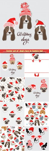 Vector set of  dog's face in Santa's hat, dog animal symbol of new year 2018