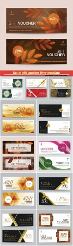 Set of gift voucher flyer template, abstract background vector illustration