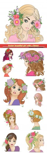 Vector beautiful girl with a flower wreath on his head
