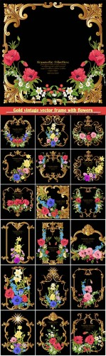 Gold vintage vector frame with flowers, poppy, daffodil, anemone
