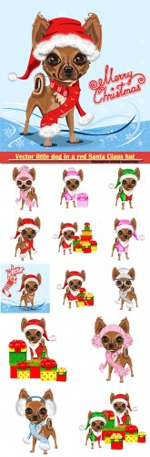 Vector little dog in a red Santa Claus hat