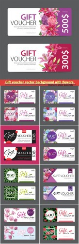 Gift voucher vector background with flowers