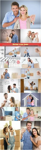 Buying a new home, couples unpacking boxes in a new house