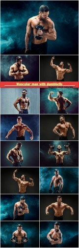 Muscular man with dumbbells, bodybuilder posing, fitness muscled man