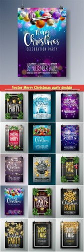 Vector Merry Christmas party design with holiday typography elements