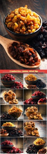 Composition with bowl of dried cranberries, raisins, dried figs