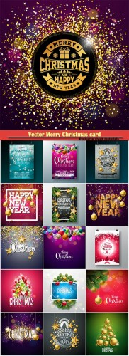 Vector Merry Christmas card on shiny background with holiday elements