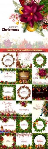 Happy New Year and Merry Christmas greeting vector illustration