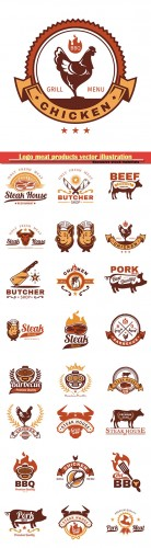 Logo meat products vector illustration template # 78