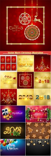 Vector Merry Christmas Illustration, Happy New Year vector design