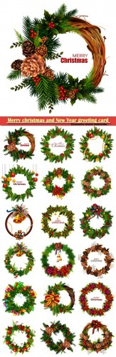 Christmas wreaths, Merry christmas and New Year greeting card vector # 10