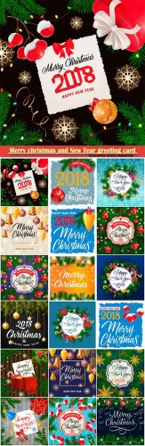 Merry christmas and New Year greeting card vector # 27