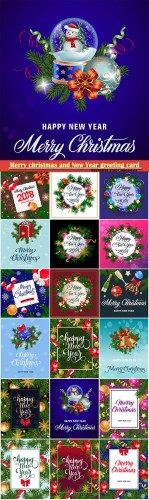 Merry christmas and New Year greeting card vector # 25