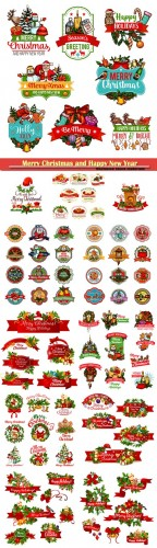 Merry Christmas and Happy New Year wish icons, Christmas tree garland decorations of holly wreath with red ribbon, golden bells and Santa gifts