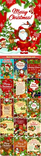 Merry Christmas wish greeting card for winter holidays