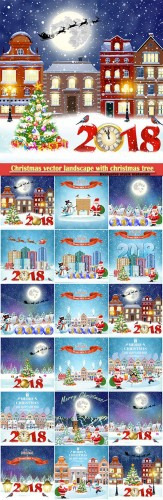 Christmas vector landscape with christmas tree and Santa Claus with gift bag