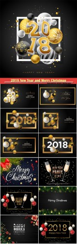 2018 New Year and Merry Christmas design vector template