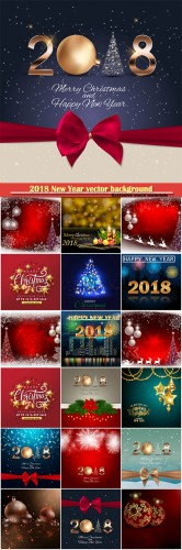 2018 New Year vector background with christmas ball