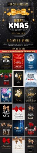 Luxury vector card design for Christmas party, New Year sale background