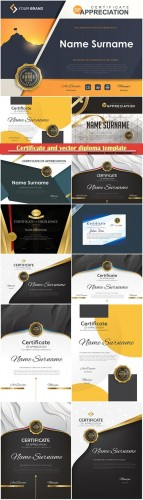 Certificate and vector diploma template design set