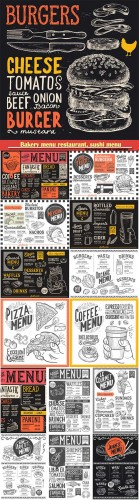 Bakery menu restaurant, sushi menu, burger, pizza poster, food vector template