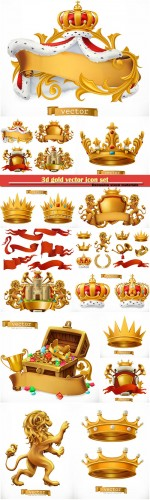 3d gold vector icon set, crown of the king, laurel wreath, trumpet, lion, ribbon