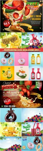 Mouthwatering vector pizza, orange juice, natural berry blend juice, tasty donut