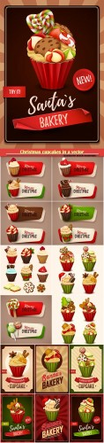 Christmas cupcakes in a vector, delicious sweets