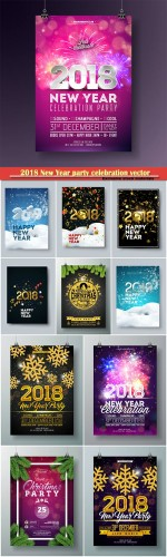 2018 New Year party celebration vector poster template
