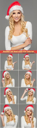 Beautiful cute blond model wear santa hat