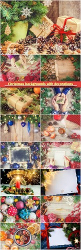 Christmas backgrounds with festive decorations