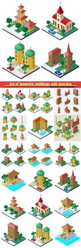 Set of isometric buildings with benches, vector trees and car