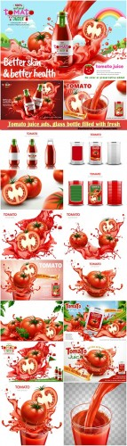 Tomato juice ads, glass bottle filled with fresh tomato juice with splashing juice, 3d illustration