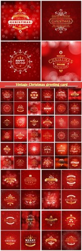 Set of Christmas golden and red greeting vector card templates