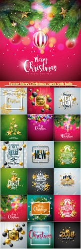 Vector Merry Christmas cards with balls, Happy New Year designposter