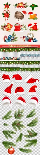Vector set of Christmas icons and objects, boards with branches of tree