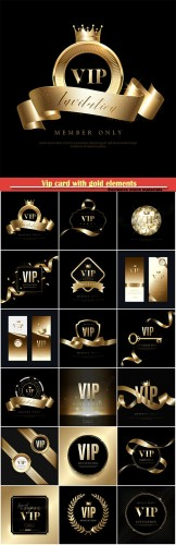 Vip card with gold elements, black vector background
