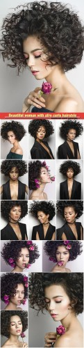 Beautiful woman with afro curls hairstyle with rose
